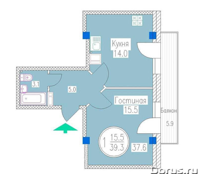 Ессентуки, р-н Курортный ул Октябрьская 337 корпус 3, 1-комнатная квартира 41,6 кв м, балкон 11 кв -..., фото 1